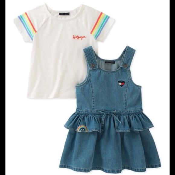Tommy Hilfiger Other - Tommy Hilfiger Cotton T-Shirt & Denim Ruffle Dress